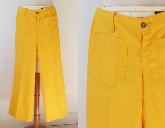 Yellow 70s Vtg. Kids Flared Pants //  Bell Bottoms