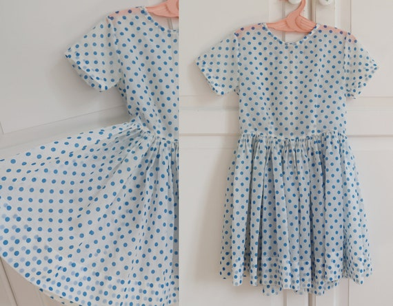 White 50s60s Dress With Blue Polka Dots // Handmad