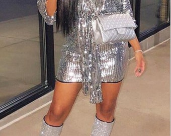 Sexy Half Sleeve Silver Sequined Mini Dress