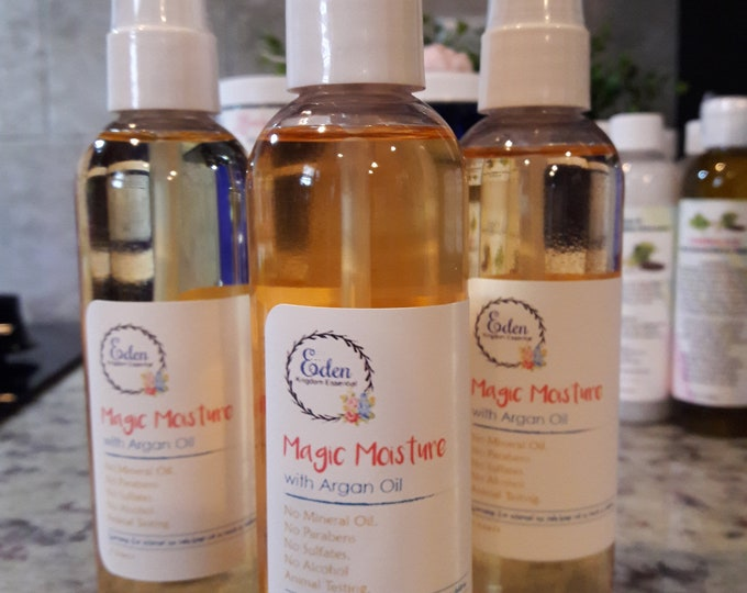 Magic Moisture Hydration Spray With Argan Oil- Castor Oil- Aloe- Gylcerin Strawberry Scent Great For Naturals