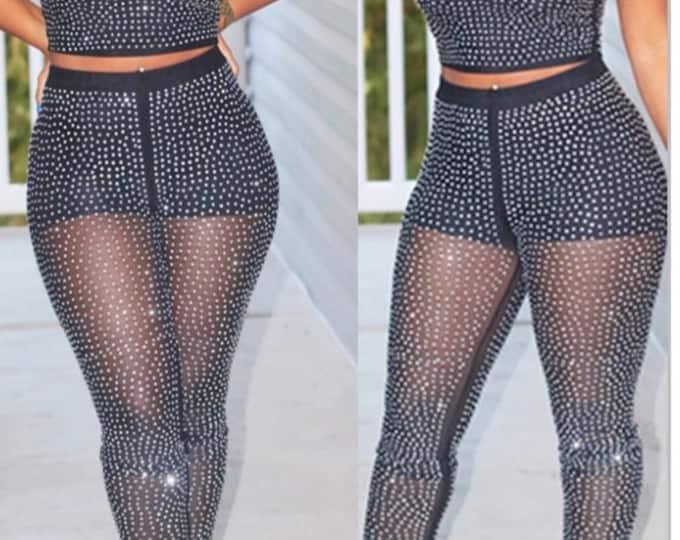 Sexy Dots Printed Black Polyester Gauze Two-piece Pants Set
