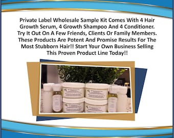 Private Label Wholesale Sample Kit  4 Serum, 4 Shampoo, 4 Conditioner  Natural Hair Care Products Your Own Product Line