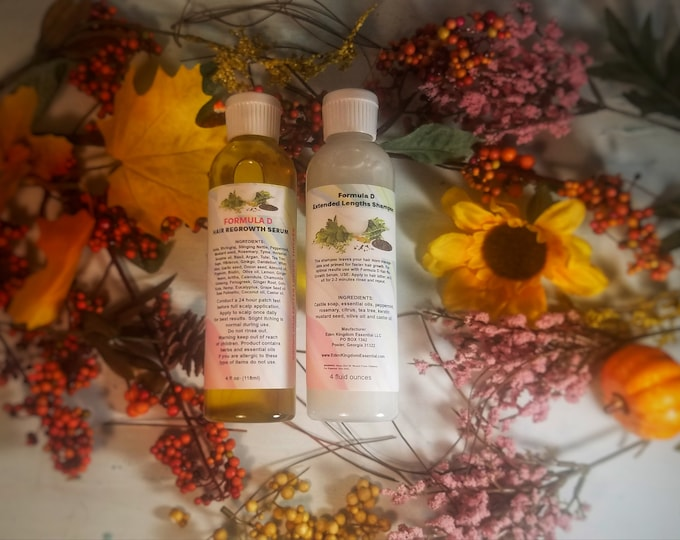 KIT:Formula D Hair Re-Growth Serum & Shampoo Grow Your Hair Long Thick And Healthy Proven Natural Hair Care Black Castor Oil Herbs
