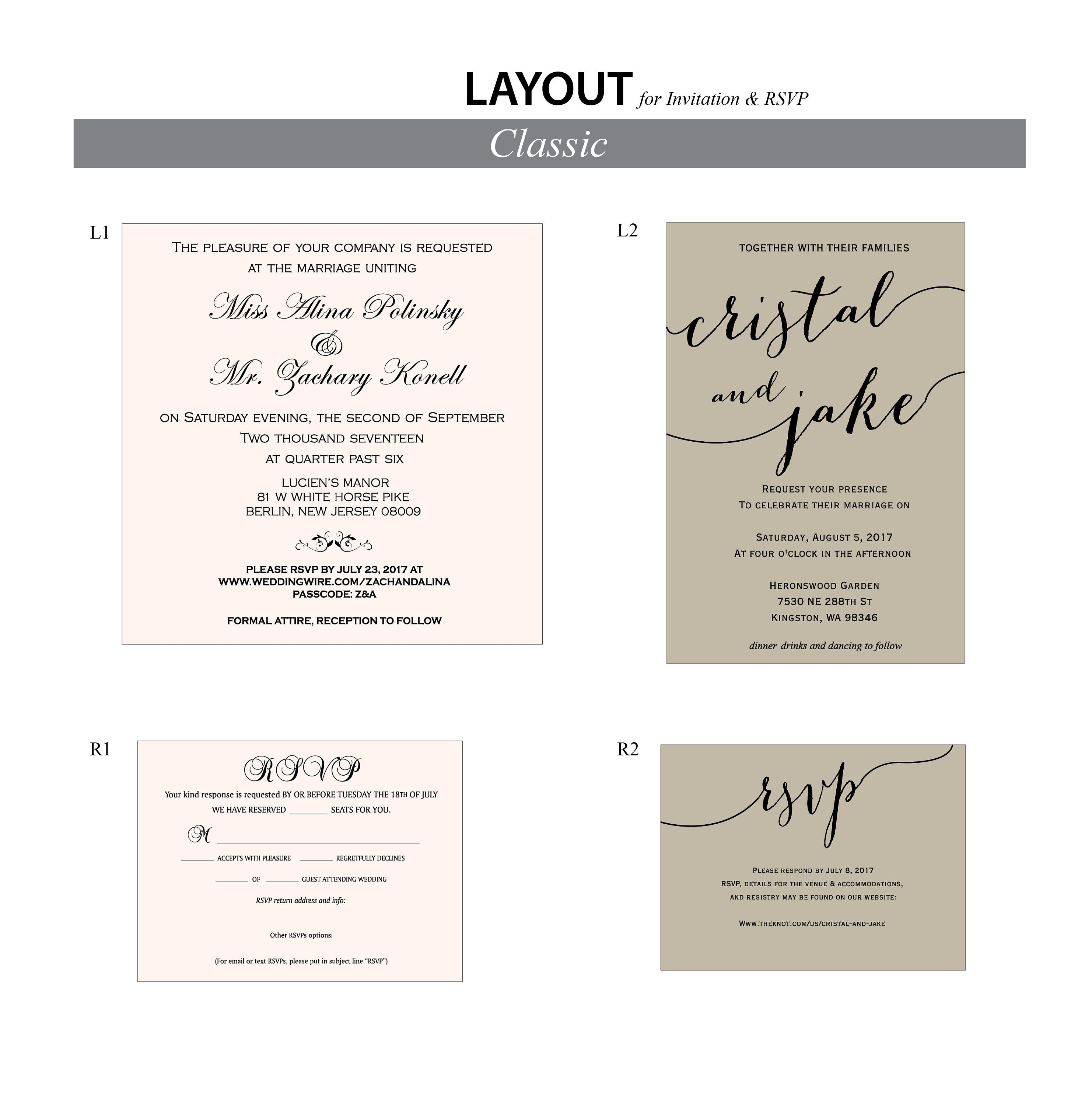 Layout & Wording samples