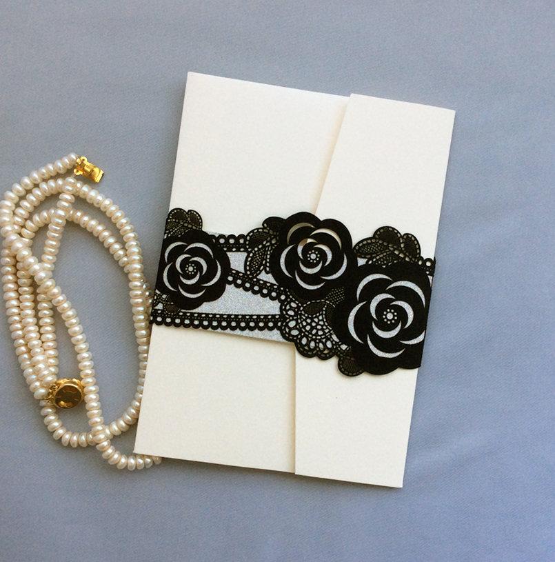 DIY Wedding ivory tri folding pocket folder w/ laser cutting