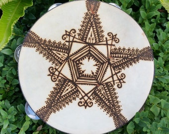 Hand Painted Tambourine 'Five Pointed Arabic Star'