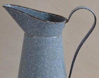 Rustic French Vintage Grey Enamel Pitcher, French Vintage, Home Decor, France, Pitcher, Jug, Vase, Enamelware, Style, Interiors, Home, Gift