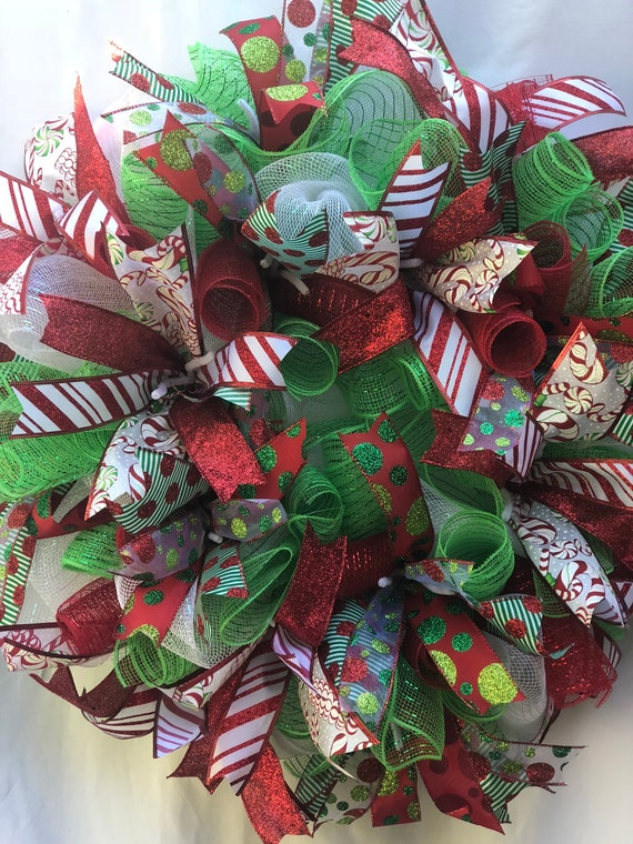 Whimsical Christmas Wreath Christmas Red Candy Cane Ribbon Christmas Wreath Green and White Christmas Wreath Mesh Christmas Wreath