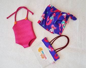 """18"""" Outfit  - Swimsuit with Tote Beach Bag and Sarong Skirt"""