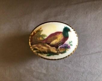 Vintage Pheasant Bird Top Porcelain Trinket Dish