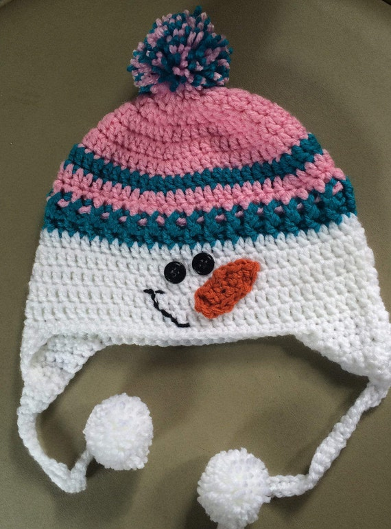 19e231de0 Crochet Snowman Hat,Child Snowman Hat,Snowman Hat,Pink and Teal Crochet  Hat,Winter Hat,Snowman Crochet Hat,Photo Prop,WinterEar Flap Hat,
