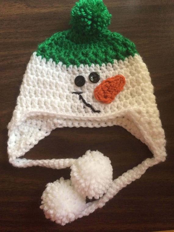 Crochet Snowman HatBaby Snowman HatSnowman HatGreen Crochet  31a0c3c15bb0