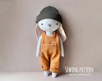 PDF Bunny Boy Sewing Pattern & Tutorial — DIY Animal Rag Doll, Doll with Clothes, Soft Toy, Stuffed Toy, Dress up Doll, Bunny Pattern