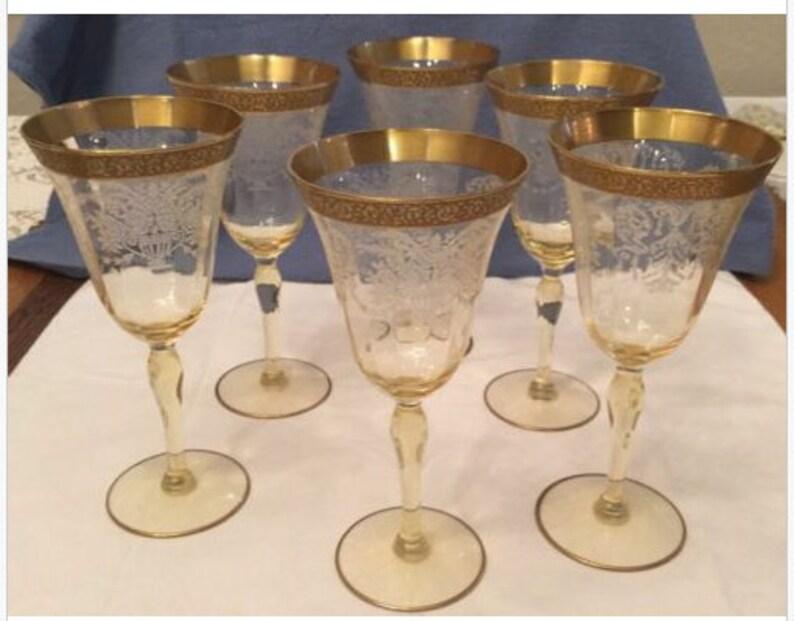 Elegant depression glass etched pattern Cambridge wine | Etsy