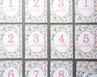 Milestone Cards, Baby Milestone Cards, Baby Girl Milestone Cards, Floral Milestone Cards, Baby Shower Gift, First Year, New Mom Gift, Cards