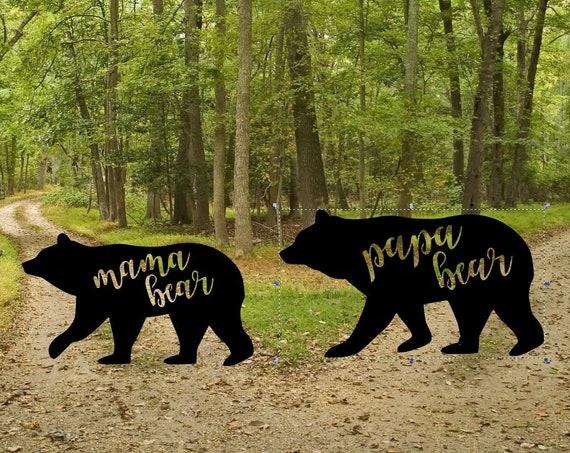 Weatherproof Mama or Papa Bear House Sign, Monogram Wreath, Door Monogram, Front Door Wreath,  Metal Letters