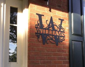 "22"" wide - LARGE Weatherproof Monogram House Sign, Monogrammed Wreath, Door Monogram, Front Door Wreath, Custom Name Sign, Metal Letters"