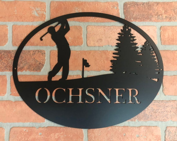 Custom Male, Man Golf Monogram  Sign, Personalized Wreath, Door Monogram, Wall, Custom Family Name Sign, Metal Letters Golfer Sports