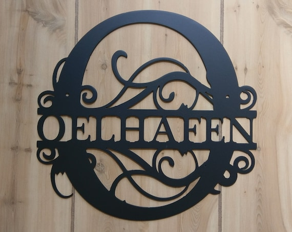 """12"""" wide - SMALL Weatherproof Monogram House Sign, Monogrammed Wreath, Door Monogram, Front Door Wreath, Custom Name Sign, Metal Letters"""