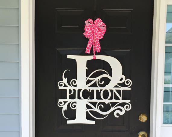 """22"""" wide LARGE Monogram Wreath, Front Door Wreath, Monogram Door Wreath. Metal Letters, Metal Surname Sign, Custom Name Sign, Front Door"""