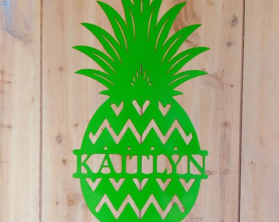 """20"""" Tall Weatherproof Chevron Pineapple Monogram House Sign, Monogrammed Wreath, Door Monogram, Front Door Wreath, Custom Name, Metal Letter"""