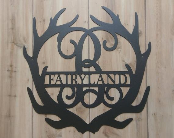 Weatherproof Deer Antler Monogram House Sign, Monogrammed Wreath, Door Monogram, Front Door Wreath, Custom Name Sign, Metal Letters