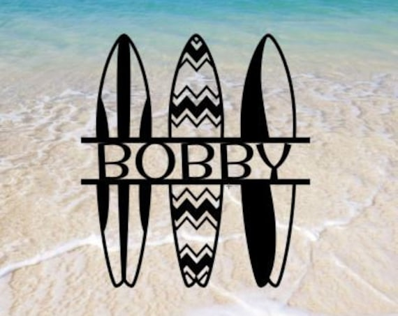 Custom Surfer Surf Board Monogram  Sign, Personalized Wreath, Door Monogram, Wall, Custom Family Name Sign, Metal Letters  OutdoorBeach