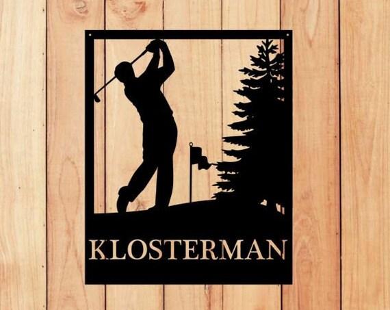 Custom Male, Man Golf Monogram  Sign, Monogrammed Wreath, Door Monogram, Wall, Custom Name Sign,  Metal Letters Golfer Sports