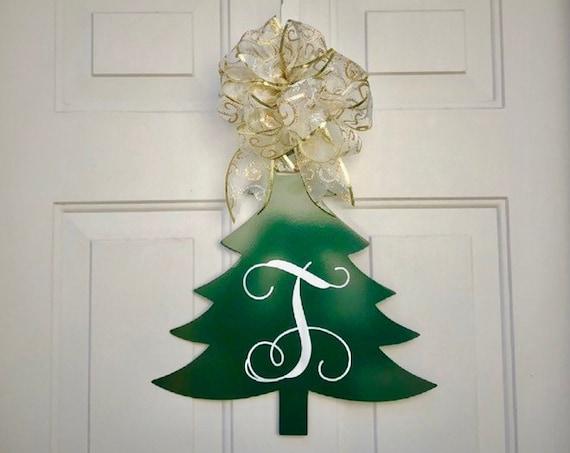 Weatherproof Christmas Tree Monogram House Sign, Monogrammed Wreath, Door Monogram, Front Door, Custom Name Sign,  Metal Letters