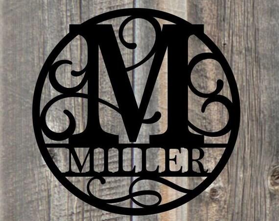 Weatherproof Custom Circle Monogram House Sign, Monogrammed Wreath, Door Monogram, Front Door Wreath, Custom Name Sign,  Metal Letters