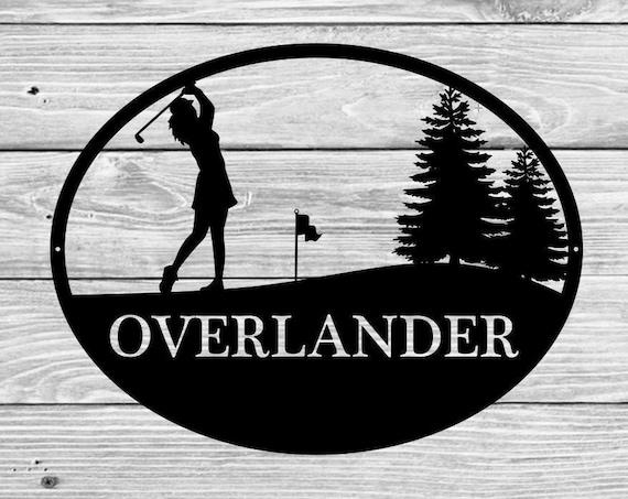 Custom Female Woman Golf Monogram  Sign, Monogrammed Wreath, Door Monogram, Wall, Custom Name Sign,  Metal Letters Golfer Sports