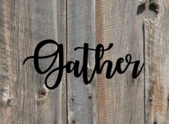 Gather Cursive Wall Sign, Metal Sign, Metal Words, Wreath, Wall Words, Metal Letter, Metal Monogram, Letters