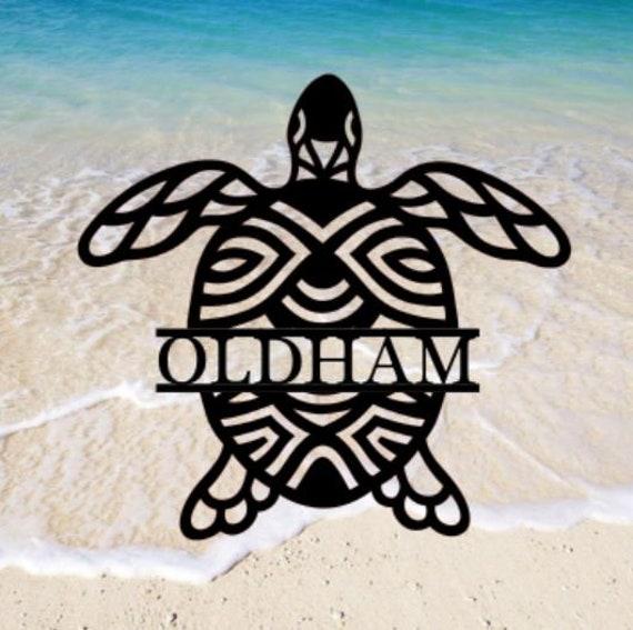 Sea Turtle  Monogram Wreath, Front Door Wreath, Door Wreath. Metal Letters, Metal Surname Sign, Custom Name Sign, Front Door