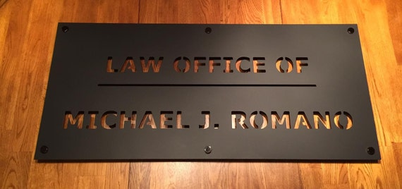 """35"""" wide x 20"""" tall Business Sign, Custom, Metal, Personalized, Name, Law Office, Logo, Letter, Wall Art Words, Sayings. Monogram"""