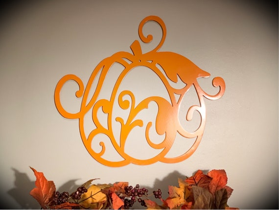 Weatherproof Fall Pumpkin House Sign, Monogrammed Wreath, Door Monogram, Front Door, Custom Name Sign,  Metal Letters