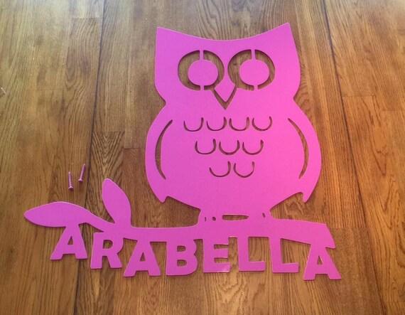 Owl Monogram Wreath, Front Door Wreath, Personalized, Metal Sign, Custom Name Sign, Metal Wall Art, Wall Hanging. Nursary, baby, Child Decor