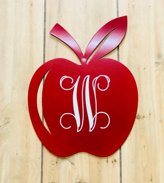 Weatherproof Apple Monogram House Sign, Monogrammed Wreath, Door Monogram, Front Door, Custom Name Sign,  Metal Letters