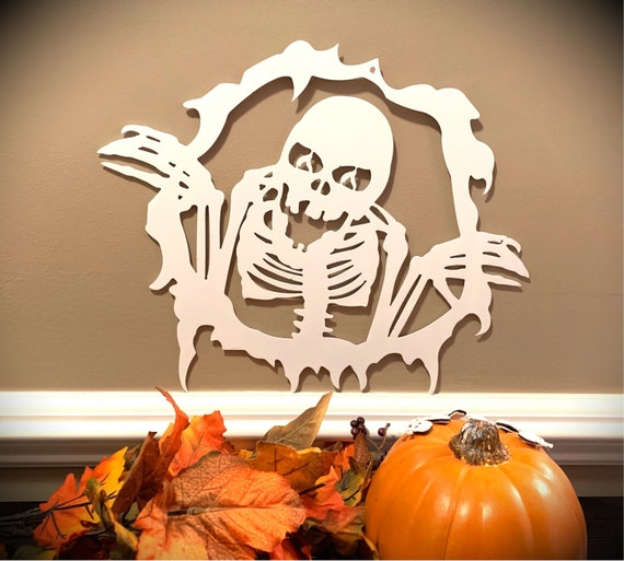 Weatherproof Fall Halloween Skeleton House Sign, Monogrammed Wreath, Door Monogram, Front Door, Custom Name Sign,  Metal Letters