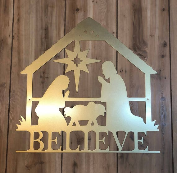 Weatherproof Nativity House Sign, Personalized Wreath, Christmas, Front Door Wreath, Custom Name Sign, Metal Letters, Outdoor, Holiday