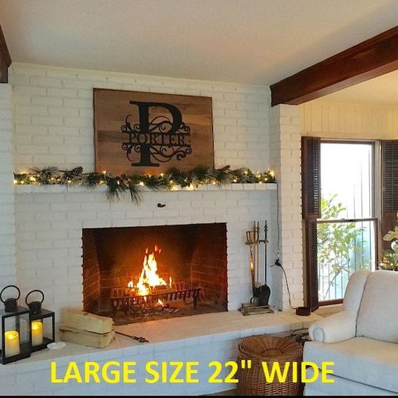 """22"""" wide LARGE size Wall Art Monogram House Sign, Personalize Wreath, Fireplace Monogram, Custom Family Name Sign, Metal Letters, Home Decor"""