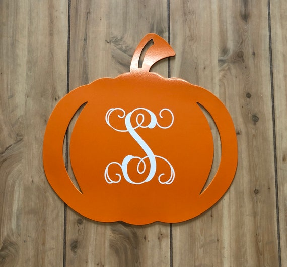Weatherproof Fall Pumpkin Monogram House Sign, Monogrammed Wreath, Door Monogram, Front Door, Custom Name Sign,  Metal Letters