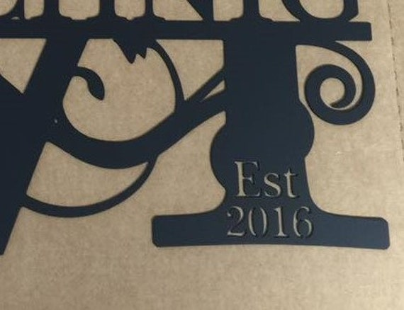 Add-on Established Year to Monogram Sign
