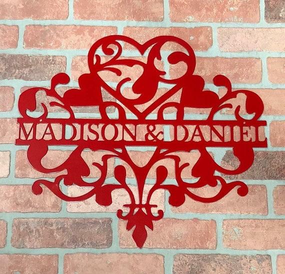 Weatherproof, Wedding, Valentine's Day, Monogram door Wreath, Monogram Wall Art.  Metal Name Sign. Custom, Hearts, Front Door, Outdoor..
