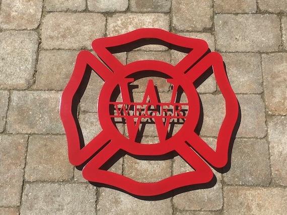 Weatherproof Fire Dept, Firefighter , EMS , Fire, Monogram House Sign, Monogrammed Wreath, Door, Front Door Wreath, Custom Name Sign,  Metal