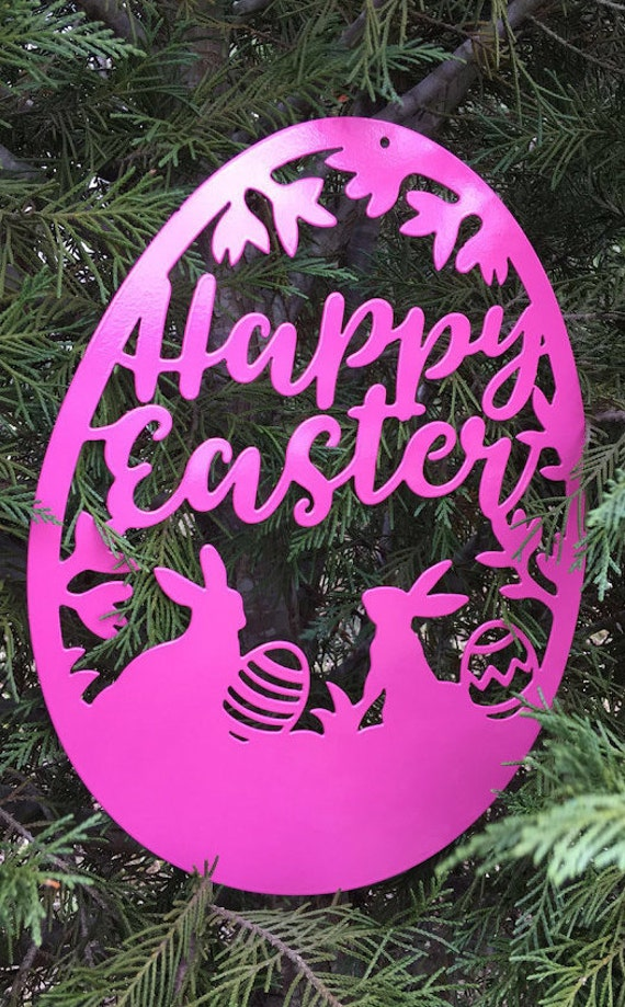 Weatherproof Happy Easter Egg Monogram House Sign, Monogram Wreath, Front Door Wreath