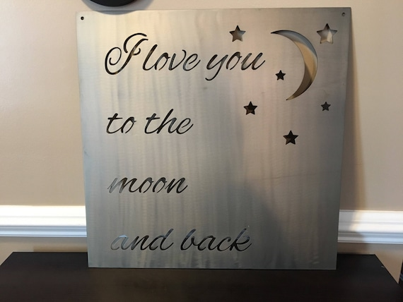 "I love you to the moon and back. Wall decor, Metal Sign, Wreath, Home Decor. 22"" x 22"""