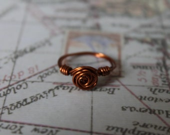 Handmade rose wire wrapped ring (Handmade, one off)