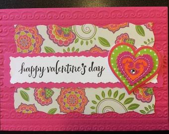 "Valentine, ""Happy Valentine's Day"", Handmade Valentine Card"