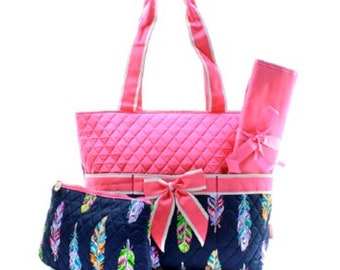 To The Rescue Quilted Cloth Diaper Bag Monogrammed Diaper Bag Quilted Tote Bag Baby Shower Gift