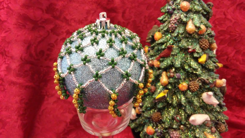 Decorative Christmas Beaded Ornament Cover,Ornament Drape ,Christmas ...